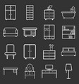 furniture icons set flat on black background vector image