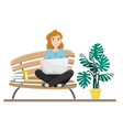 girl sitting on a bench in a lotus position vector image vector image