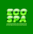 green emblem eco spa with glossy font vector image