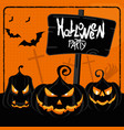 halloween party orange poster vector image vector image
