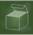hand drawing chalk box on green board - vector image