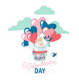 happy valentines day greeting card funny boy vector image