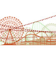 horizontal of roller coaster and ferris wheel vector image vector image