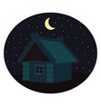 house in night on white background vector image