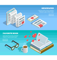 Isometric Reading Banner Set vector image vector image