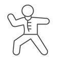karate sportsman thin line icon self defense vector image vector image