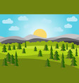 landscape with field trees and mountains vector image