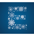 Letter E font frosty snowflakes vector image
