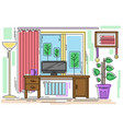 line style freelance workplace in living room vector image vector image