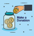 make a donation sign charity container money vector image vector image