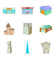 mansion icons set cartoon style vector image vector image