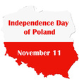 Map of Poland with national flag Independence day vector image