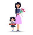 mom and daughter congratulations on women s day vector image