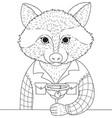 raccoon drink cocktail vector image vector image