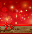 Red ribbon bow with bokehChristmas decoration vector image vector image