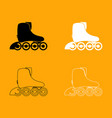 roller skate set black and white icon vector image vector image