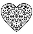 scandinavian folk heart black pattern vector image vector image