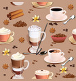 seamless pattern with coffee mugs and vanilla vector image