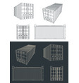 shipping container blueprints vector image