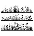 silhouette field flowers and grass landscape vector image vector image