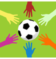 soccer ball and hands around vector image vector image