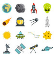 space set flat icons vector image vector image