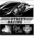 street racing sport girl with starting the vector image vector image