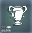 Trophy icon On the blue-green abstract background vector image