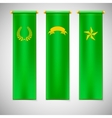 Vertical green flags with emblems vector image vector image
