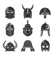 warrior helmet set vector image