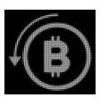 white halftone undo bitcoin payment icon vector image vector image