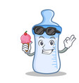 with ice cream baby bottle character cartoon vector image vector image