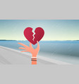 woman hand holding broken heart depression life vector image