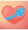 Pink heart with ribbon Card for Valentine day vector image