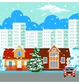 Winter cityscape buildings vector image