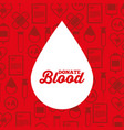 white silhouette drop blood donate medical icons vector image