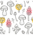 autumn seamless pattern with forest mushrooms vector image vector image