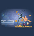 bitcoin mining concept hand holding pickaxe vector image
