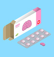 Brains pills in pack IQ vitamins Tablets in box vector image vector image
