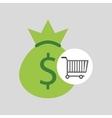 buying cart bag money dollar design vector image