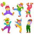 cartoon clowns collection vector image