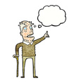 Cartoon old man with walking stick with thought vector image