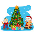 children make out the gifts near the christmas vector image