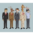 collection hipster style animals fashionable vector image