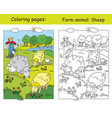 coloring and color for children sheep vector image vector image