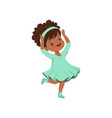 cute african american little girl dancing in light vector image vector image