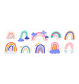 cute colorful rainbows set childish flat vector image