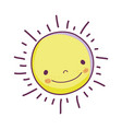 cute sun face icon vector image