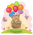 cute teddy bear girl with balloons vector image vector image