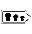 direction sign for mushrooms on white vector image vector image